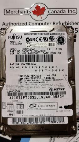 71P7503 | IBM 40GB 5400RPM Hard Drive | 71P7506 l MHT2040S