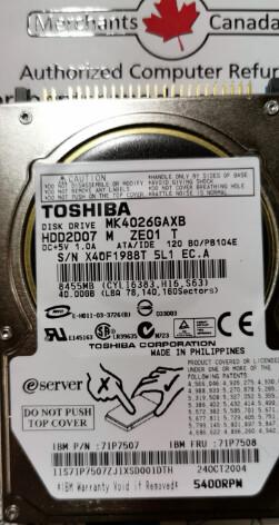 71P7507 | IBM 40GB 5400RPM ATA IDE Hard Drive | 71P7508 | MK4026GAXB