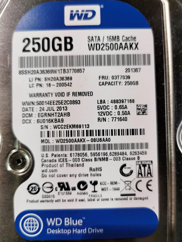 03T7039 | SH20A38369 | WD2500AAKX | Lenovo 7200RPM 250GB SATA Hard Disk Drive