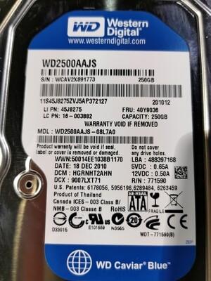 40Y9036 | 45J8275 | WD2500AAJS | Lenovo 7200RPM 250GB SATA Hard Disk Drive