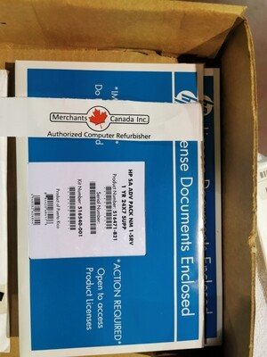 HP 516474-B21 | 516540-001 |  HP Smart Array Advanced Pack No Media 1 Server 1yr 24x7 Support Software | Factory Sealed