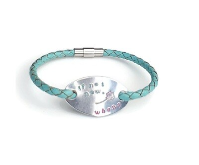 Inspirational Leather Bracelet with Magnetic Clasp