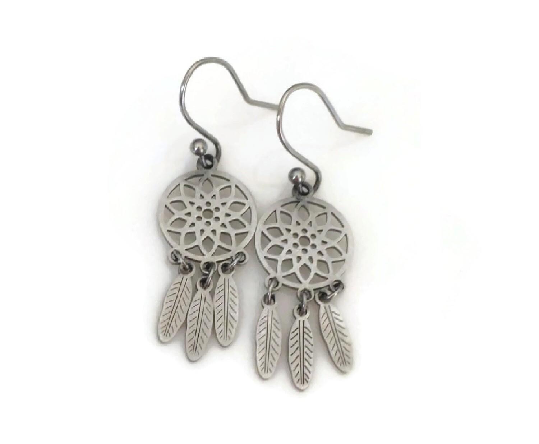 Dream Catcher Earrings with Interchangeable Pendants