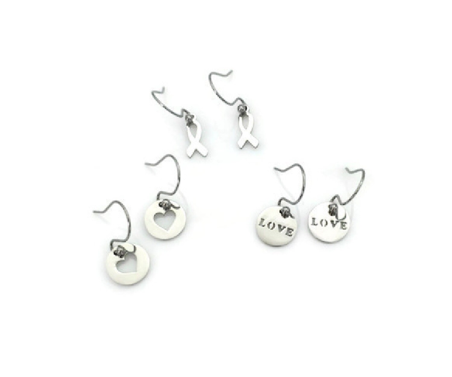 Love and Awareness Earrings with Interchangeable Pendants