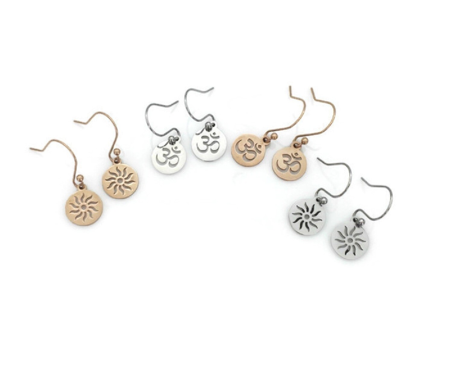 Om and Sun Earrings with Interchangeable Pendants
