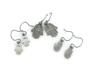 Hasma Hand Earrings with Interchangeable Pendants