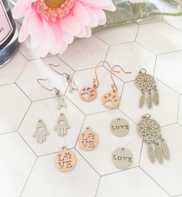 Drop Hook Earrings with Interchangeable Pendants