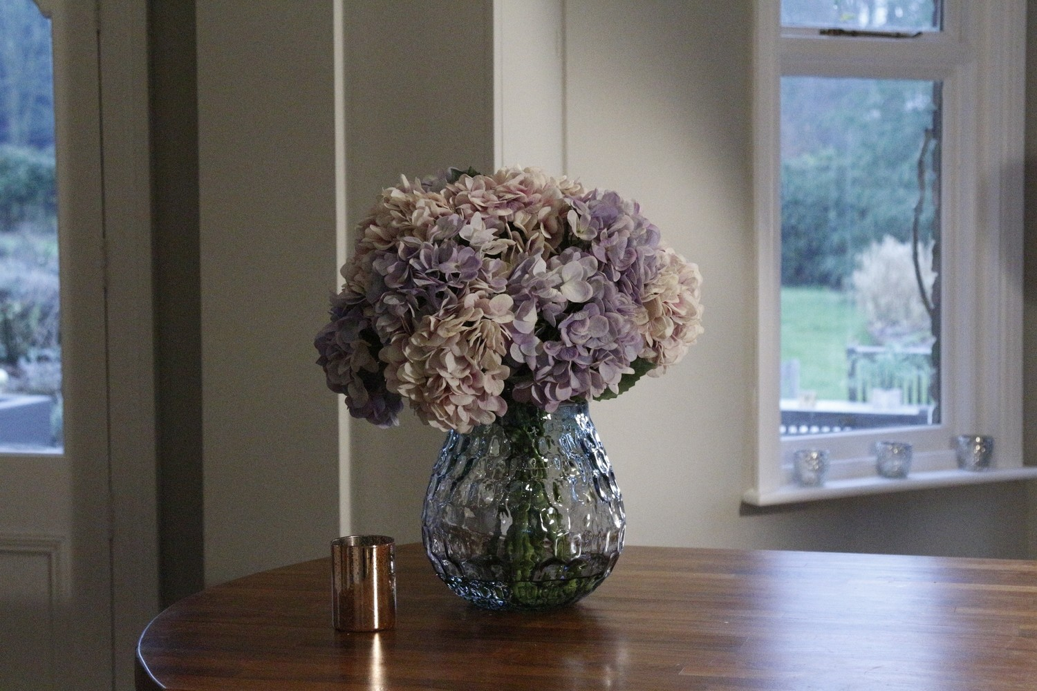 Ball of Hydrangeas in a Large Textured Coral Vase- Lilac and Pink