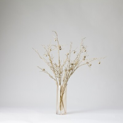 Glow in the Dark Stems in a Tall Lustre Cylinder Vase - Gold