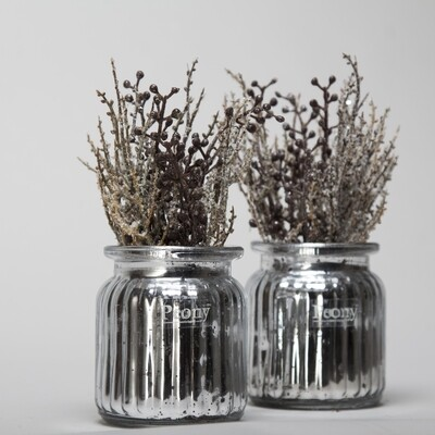 Winter Branches in a Silver Mercury Jam Jar - Set of 2