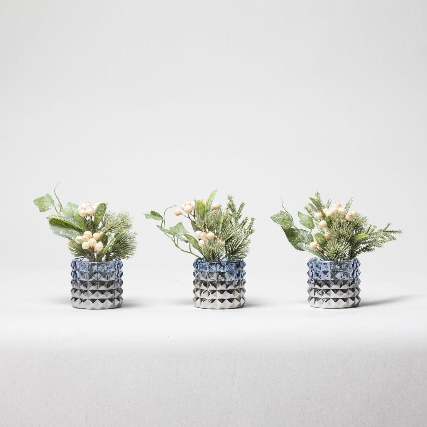 Set of Three Berries, Foliage and Ivory in Textured Pots - Cream / Green