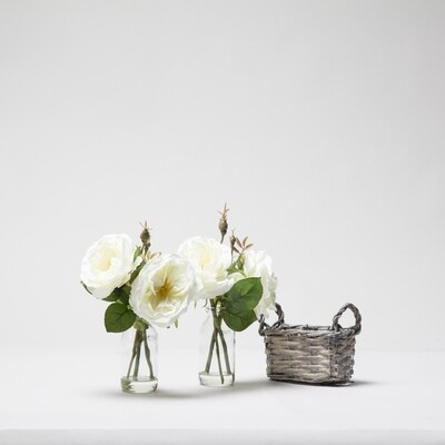 Old English Roses in a Basket Bottle Vase - Cream