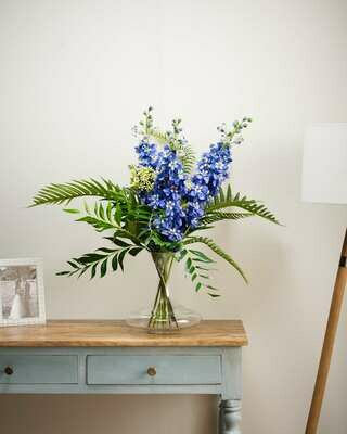 Delphinium, Fern, Palm and Foliage in a Decanter Vase