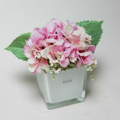 Artificial pink real touch Hydrangeas and Foliage in a white glass cube with a gift bag