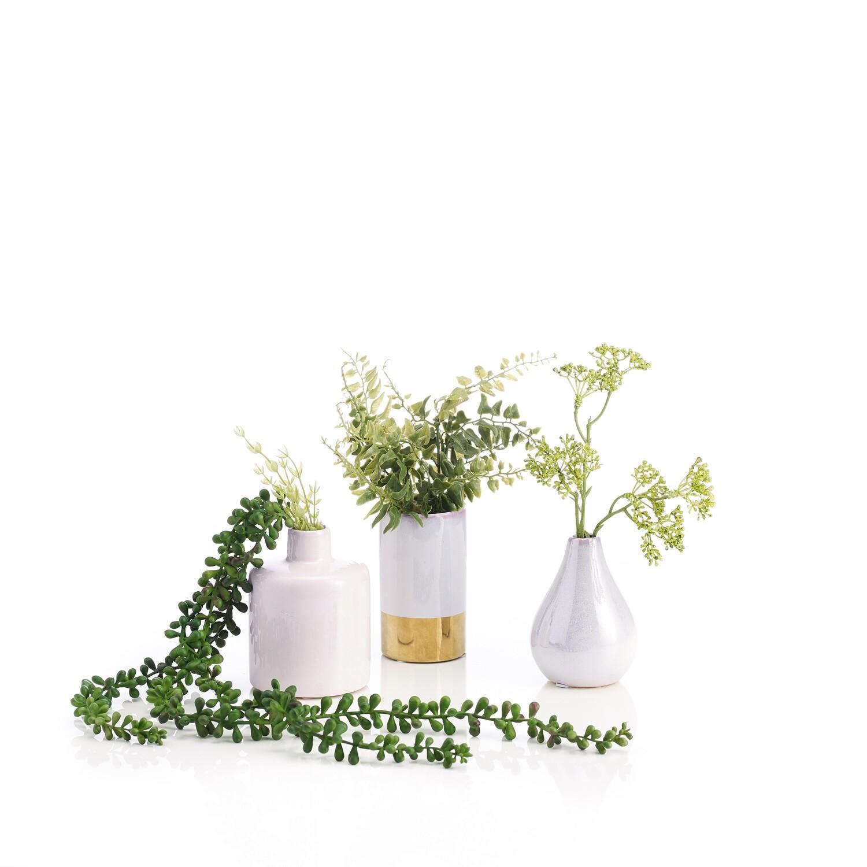 Set of Three Greenery Mix in Ceramic Vessels