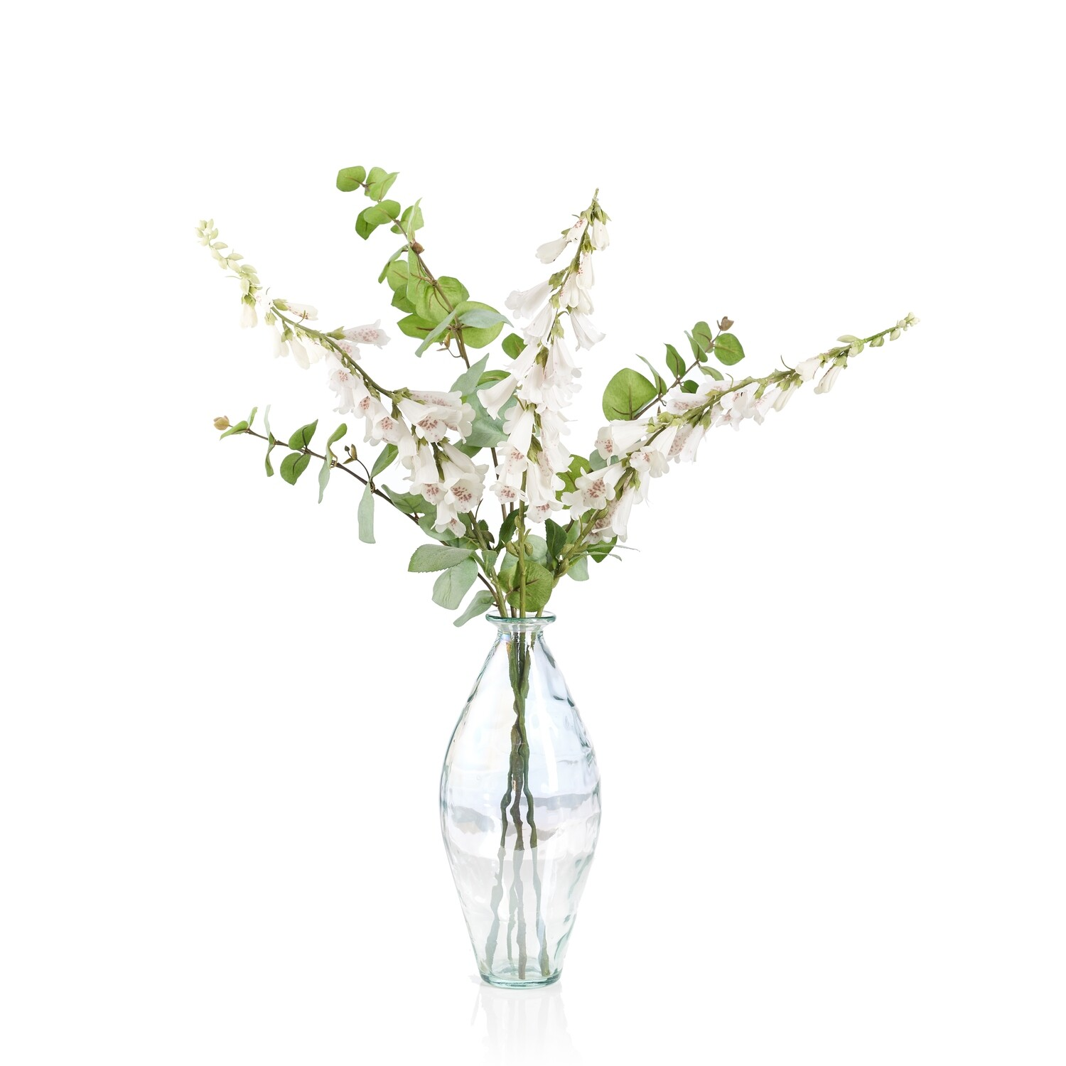 Foxgloves and Eucalyptus in a Lustre Bottle Vase