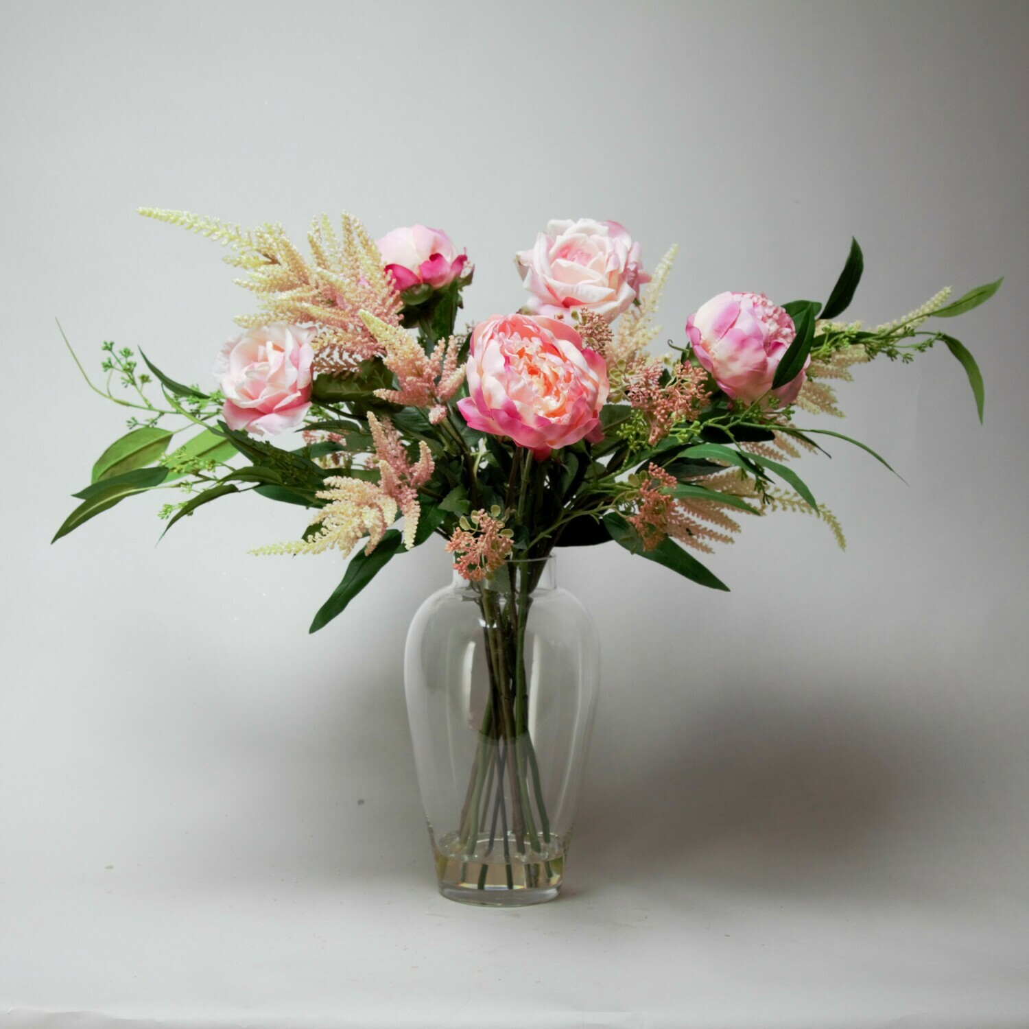 Peony, Rose and Astilbe in Meghan Vase