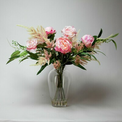 Peony, Rose and Astilbe with Foliage in a Megan Vase
