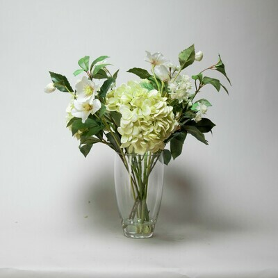 Real touch Hydrangeas, Hellebore and Astrantia with foliage in a vase