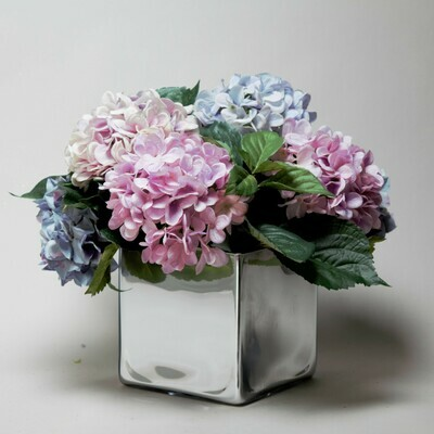 Large mirror cube with blue and lilac Hydrangeas and Hydrangea foliage