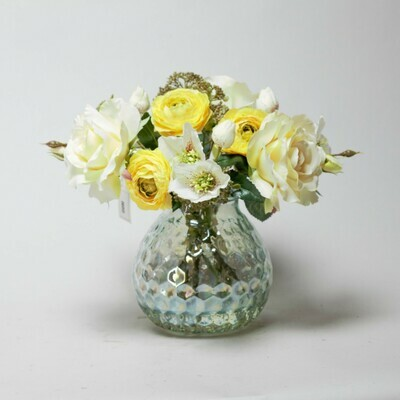 Rose, Ranunculi and Patrinia in a coral textured glass vase