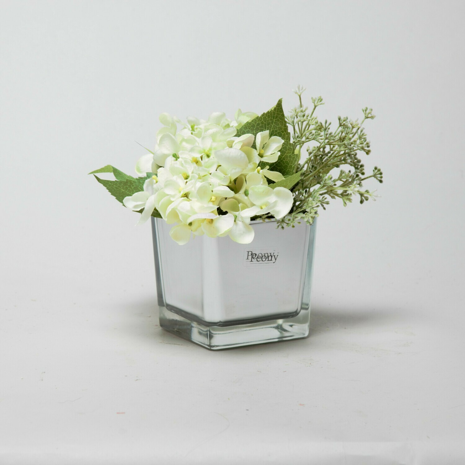Green Hydrangea and Eucalyptus seed in a mirror cube