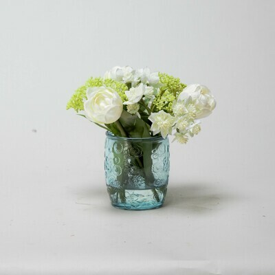 White Tulips and Astrantia in a textured blue beaker vase