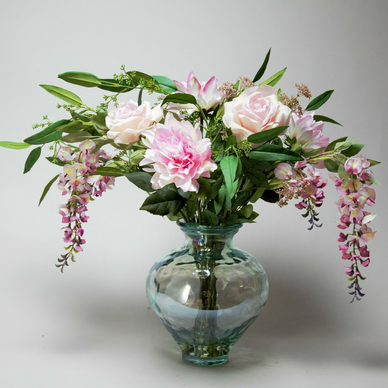 Rose, Dahlia and wisteria mix in costal vase