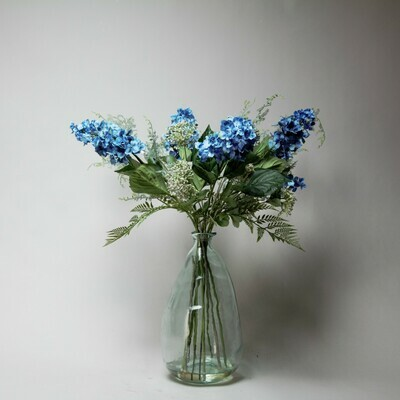 Cone Hydrangeas, Achillea and foliage in a large bottle vase
