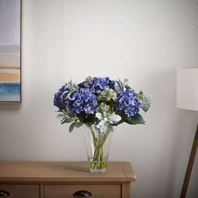Hydrangea, Lambs Leaf and Astrantia in a Handkerchief Vase
