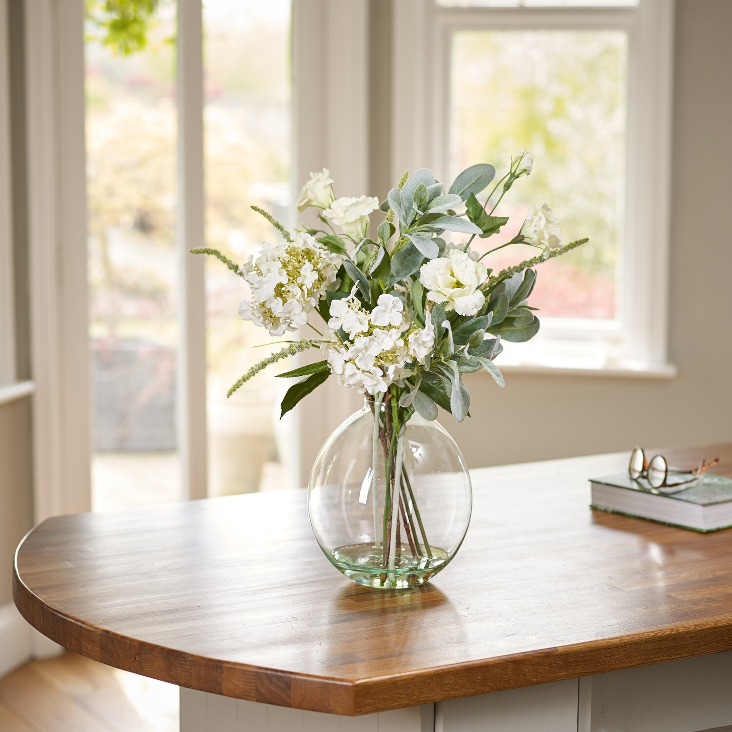 Hydrangea, Lisianthus and Foliage in a Grand Oval Vase