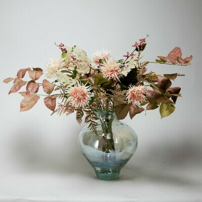 Chrysanthemum, Berry and Autumnal Foliage in a Coastal Lustre Vase