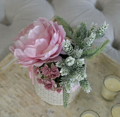 Peony, Astrantia and Foliage in a Textured Ceramic Pot