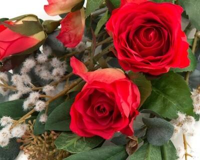 Rose, Skimmia & Acacia Posy