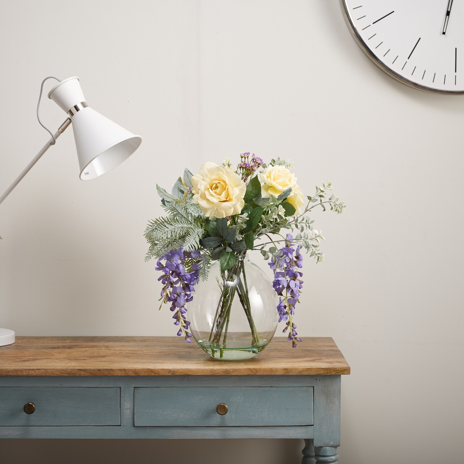 Rose, Wisteria and Foliage in Grand Oval Vase