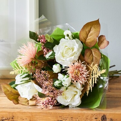 Spider Chrysanthemum, Rose and Autumnal Foliage Bouquet
