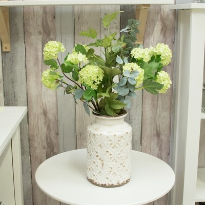 Snowball and Foliage in Rustic Cream Pot