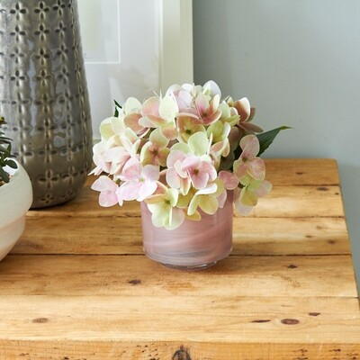 Hydrangea in a Marble-Effect Tumbler Vase