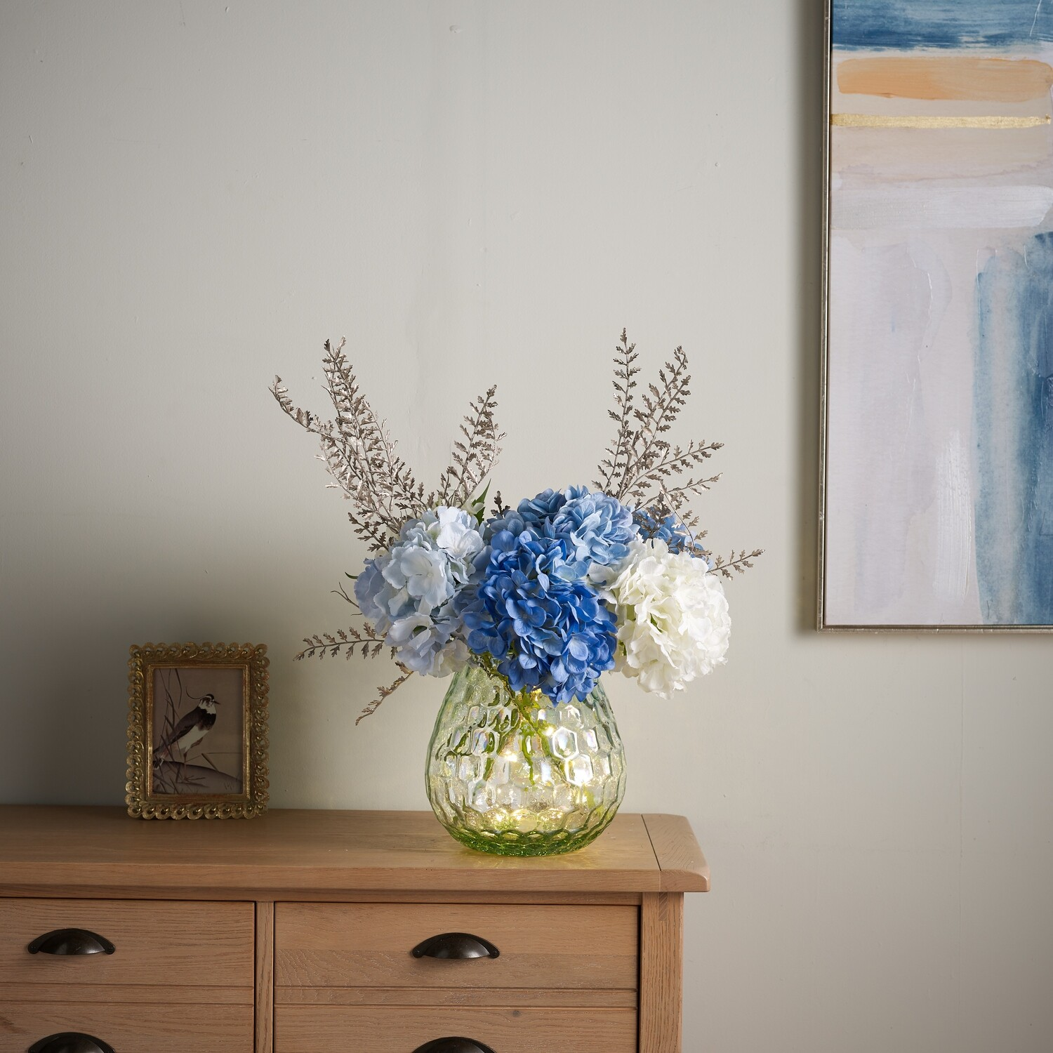 Hydrangea and Sparkle Fern in Coral Textured vase with LED lights