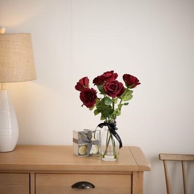 Roses in Bottleneck Vase with Set of 4 Giftboxed Candles
