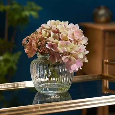 Hydrangea, Ranuncula and Patrinia in Optic Jar Vase