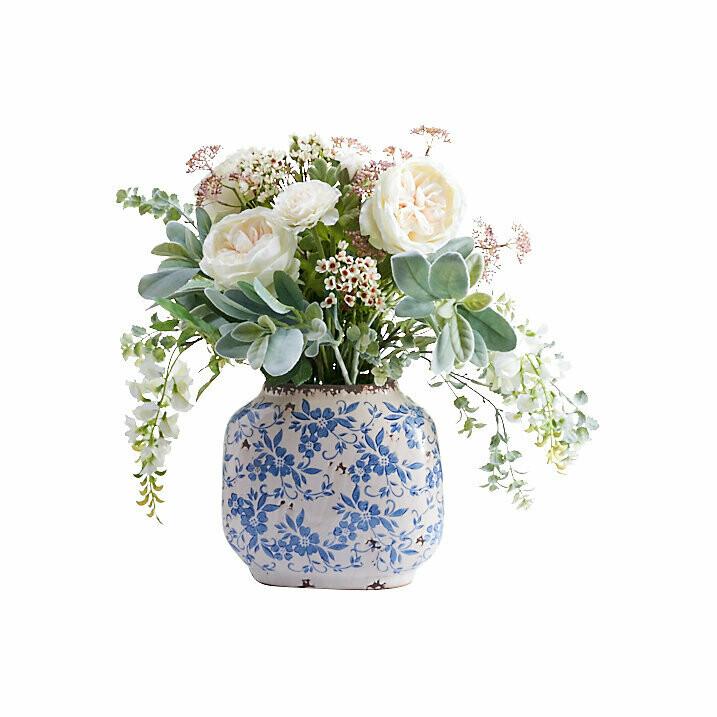 Rose, Ranunula, Wisteria and Foliage in Vintage Blue and White Pot