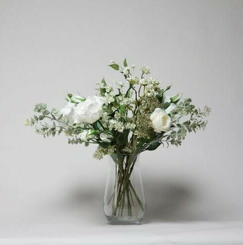 Rose, Jasmine and Buddlea in a Waisted Vase