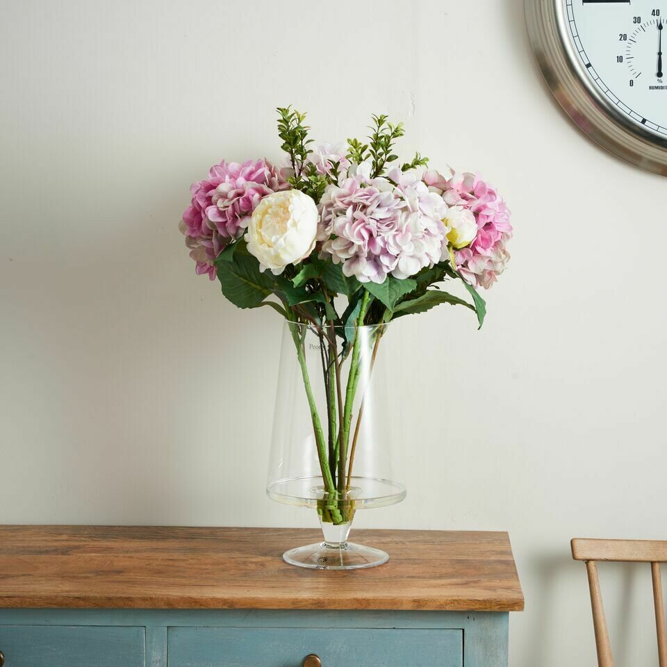 Real Touch Hydrangea, Peony and Foliage in a Large Angled Footed Vase