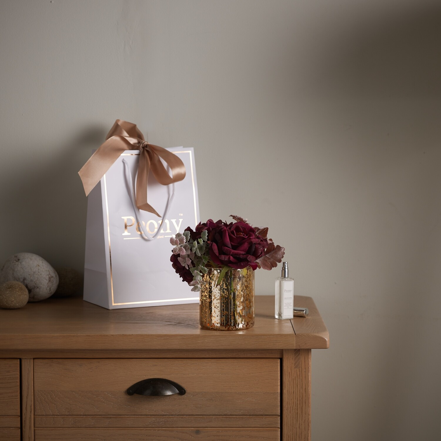 Rose, Hydrangea and Foliage in Cylinder Vase with 25ml Fragrance and Gift Bag