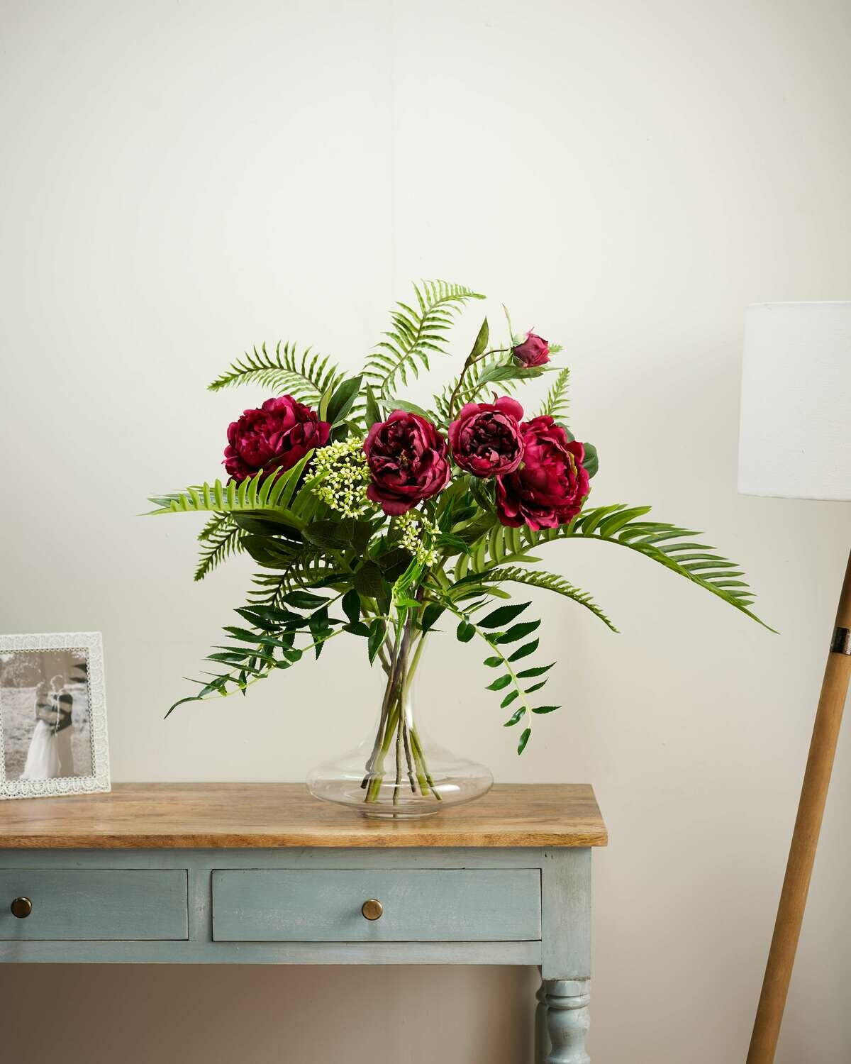 Peony and Greenery Mix in a Large Decanter Vase