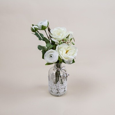 Rose, Ranuncula and Waxflower in a Lace Bottle Vase