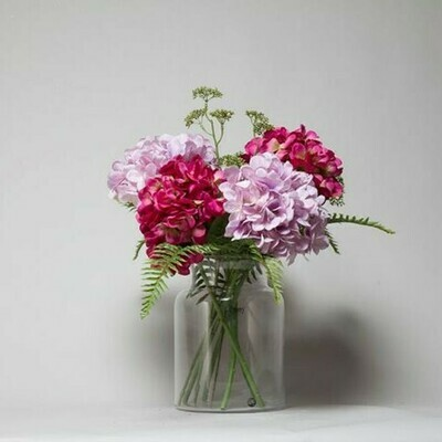 Hydrangeas with Patrina and Ferns in a Hampton vase - Lilac and Fuchsia