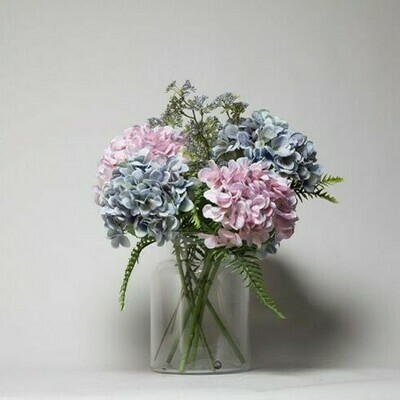 Hydrangea with Patrina and Ferns in a Hampton vase - Lilac and Blue