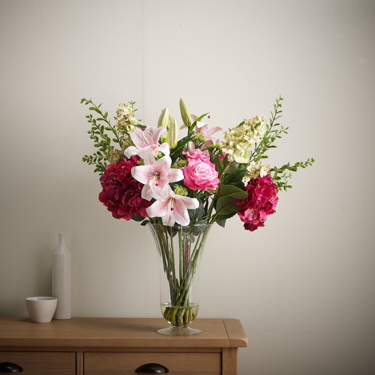 Hydrangea, Rose and Lily Mix in a Trumpet Vase